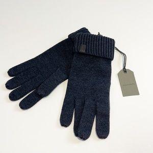 All Saints merino wool cinder black marl gloves